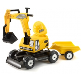 Ride-On Excavator with Trailer & Hard Hat