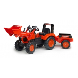 Kubota M135GX Pedal Tractor with Front Loader & Trailer