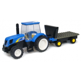 New Holland Tractor with Hay Trailer Building Block Kit