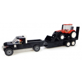 Pickup Truck with Trailer & CASE IH Tractor with Front Loader Building Block Kit