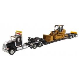 International® HX520 Tandem Tractor with XL120 HDG Trailer (Black) carrying Cat® 963K Track Loader