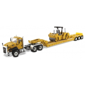 Cat® CT660 Day Cab & XL120 Low-Profile HDG Trailer with Cat® CB-534D XW Vibratory Asphalt Compactor
