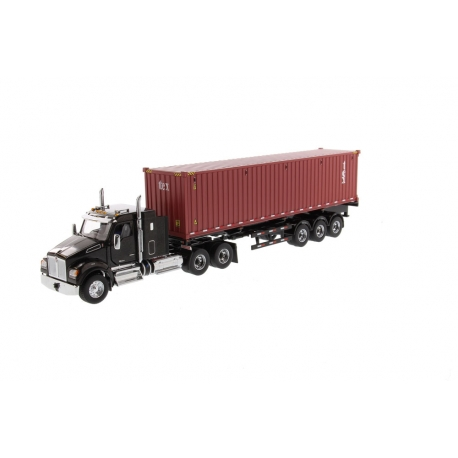 """Kenworth® T880 SFFA 40"""" Sleeper Tridem Tractor with 40' Dry Goods Sea Container"""