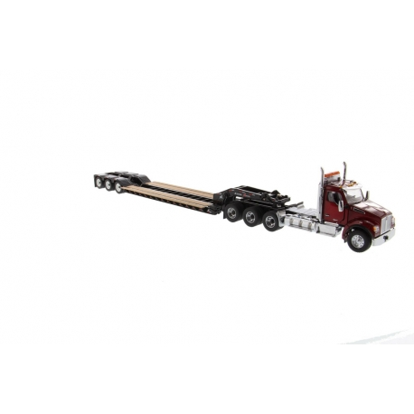 Kenworth® T880 SFFA Day Cab Tridem Tractor (Red) with XL120 Low-Profile HDG Trailer & Outriggers