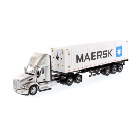 Peterbilt® 579 Day Cab Tractor (Silver) with 40' Refrigerated Sea Container